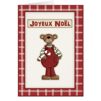 Country Christmas Teddy Bear in French Language Cards
