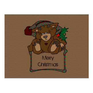 Country Christmas Teddy Bear Post Cards