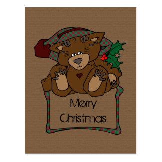Country Christmas Teddy Bear Postcard