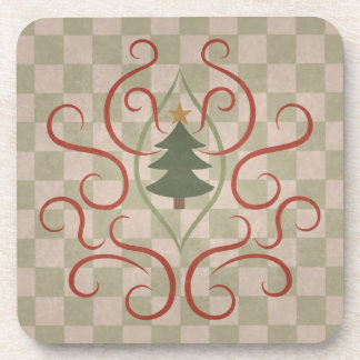 Country Christmas tree and red swirls Beverage Coaster