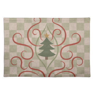 Country Christmas tree and red swirls Cloth Placemat