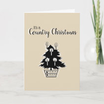 Country Christmas Tree Beige Rustic Customizable Card