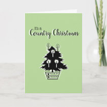 Country Christmas Tree Green Rustic Customizable Card