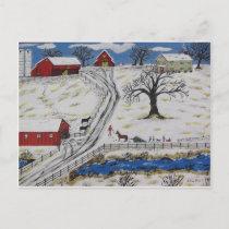 Country Christmas Tree Holiday Postcard