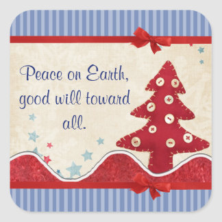 Country Christmas Tree Holiday Stickers