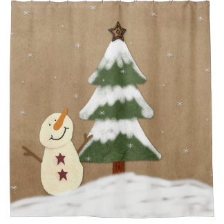 country christmas tree shower curtain