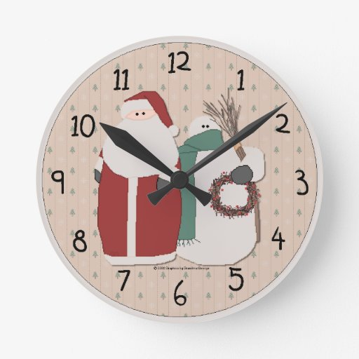 Country christmas wall clock zazzle