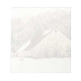 Country Christmas Winter Barn in Snow Photograph Notepad