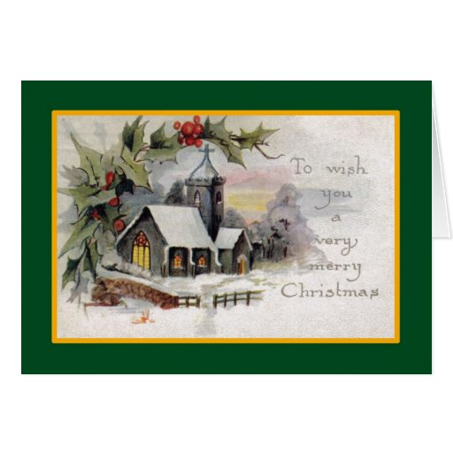 Country church a vintage christmas card