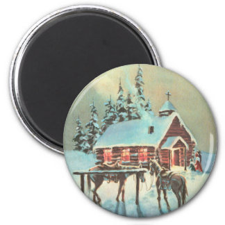COUNTRY CHURCH by SHARON SHARPE 2 Inch Round Magnet
