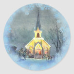 COUNTRY  CHURCH by SHARON SHARPE Classic Round Sticker