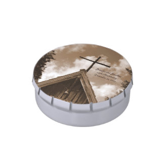 Country Church Candy Sepia Anniversary Party Favor Candy Tin