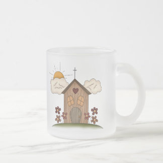 Country Church Frosted Glass Coffee Mug