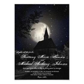 Country Church Full Moon Wedding Invitations 4.5