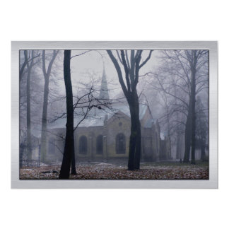 Country Church in the Lavender Mist & Fog Card