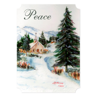 Country Church in Winter Watercolor Mountain Scene Card