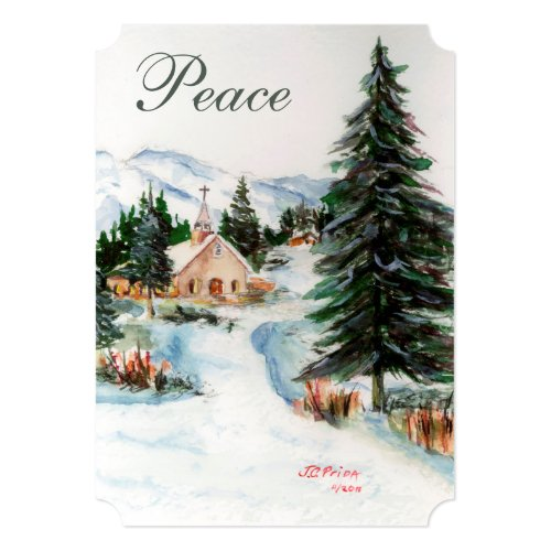 Country Church in Winter Watercolor Mountain Scene Card