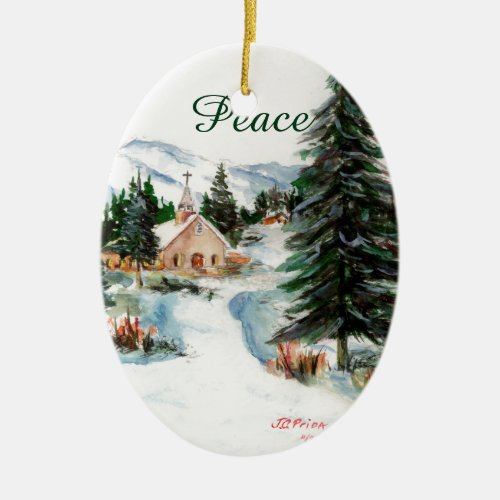 Country Church in Winter Watercolor Mountain Scene Ceramic Ornament