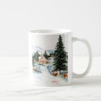 Country Church in Winter Watercolor Mountain Scene Coffee Mug