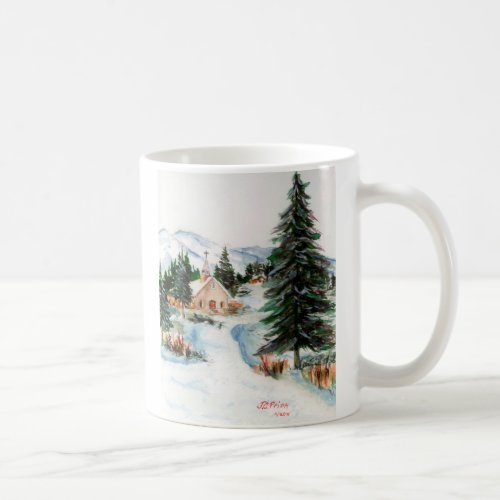 Country Church in Winter Watercolor Mountain Scene Coffee Mug