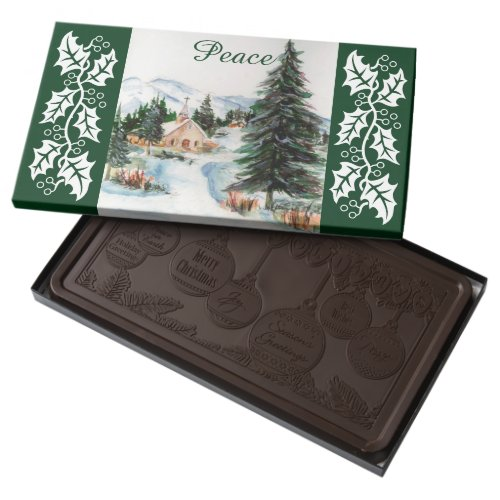 Country Church in Winter Watercolor Mountain Scene Dark Chocolate Bar