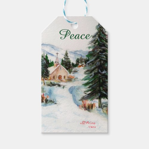 Country Church in Winter Watercolor Mountain Scene Gift Tags