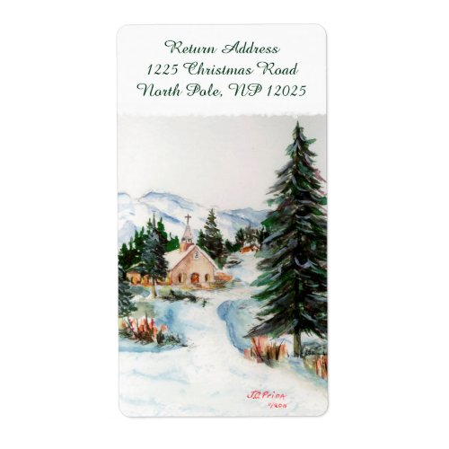 Country Church in Winter Watercolor Mountain Scene Label