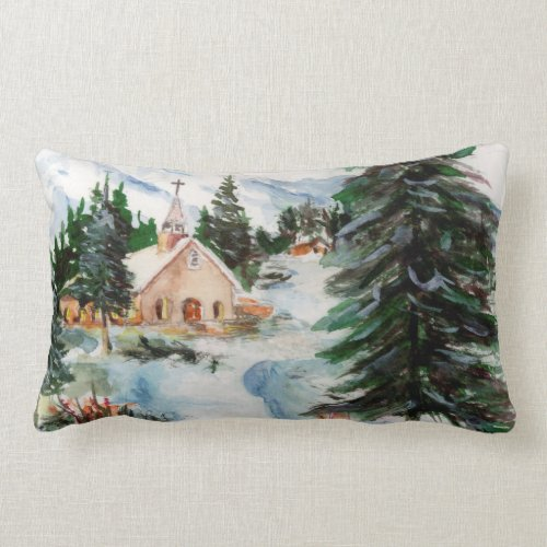 Country Church in Winter Watercolor Mountain Scene Lumbar Pillow