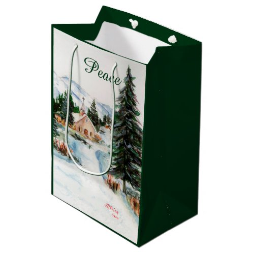 Country Church in Winter Watercolor Mountain Scene Medium Gift Bag