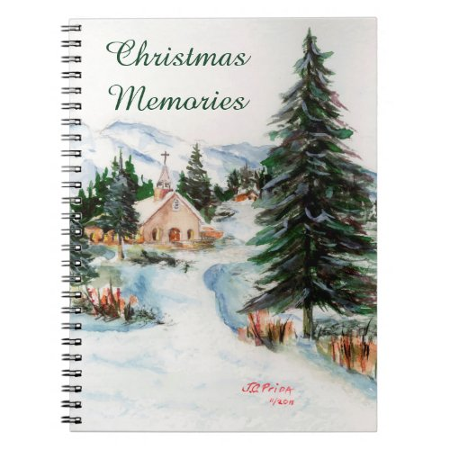 Country Church in Winter Watercolor Mountain Scene Notebook
