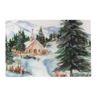 Country Church in Winter Watercolor Mountain Scene Placemat