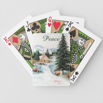 Country Church in Winter Watercolor Mountain Scene Bicycle Playing Cards