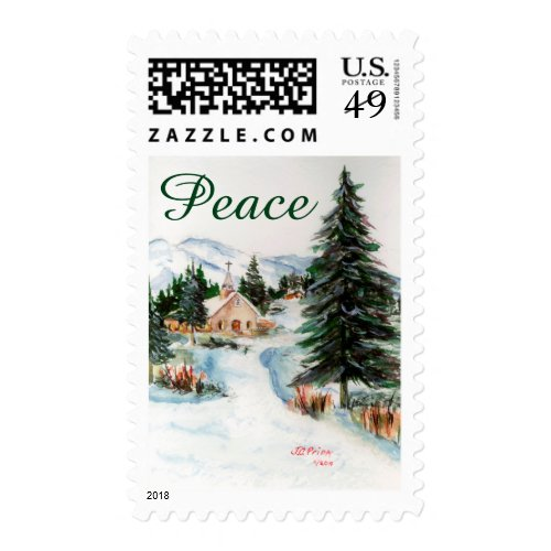 Country Church in Winter Watercolor Mountain Scene Postage