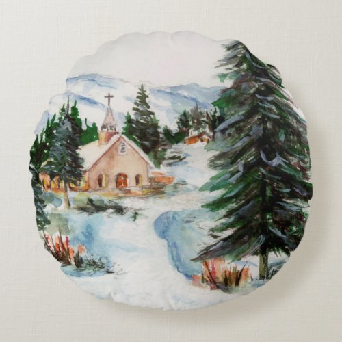 Country Church in Winter Watercolor Mountain Scene Round Pillow