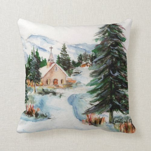 Country Church in Winter Watercolor Mountain Scene Throw Pillow