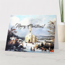 Country Church Merry Christmas Jesus Scripture Big Card