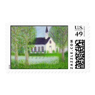 Country Church Postage Stamp