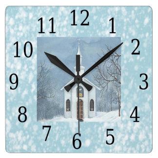 Country Church Snowing Christmas Wall Clock