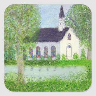 Country Church Square Sticker