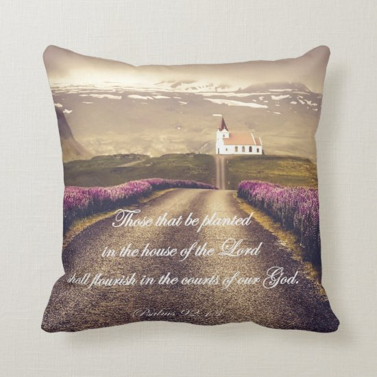 Country Church with Psalms Bible Verse Throw Pillow