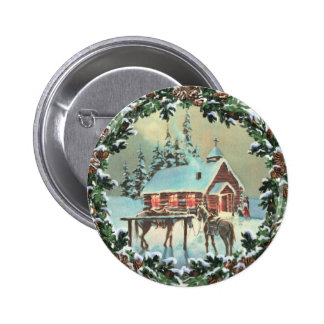 COUNTRY CHURCH & WREATH by SHARON SHARPE 2 Inch Round Button