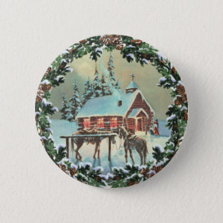 COUNTRY CHURCH & WREATH by SHARON SHARPE Pinback Button