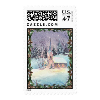 COUNTRY CHURCH & WREATH by SHARON SHARPE Postage