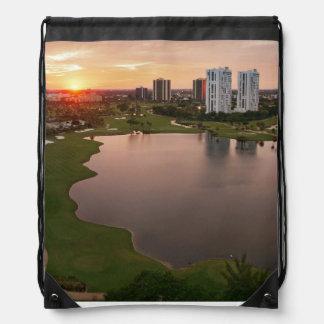 Country Club at sunset, Aventura, Florida Drawstring Bag