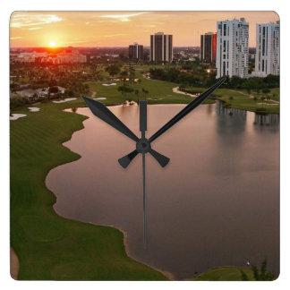 Country Club at sunset, Aventura, Florida Square Wall Clock