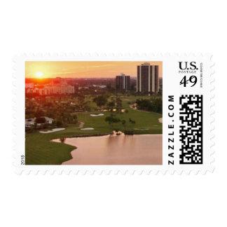 Country Club at sunset, Aventura, Florida Stamp