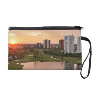 Country Club at sunset, Aventura, Florida Wristlet Clutches
