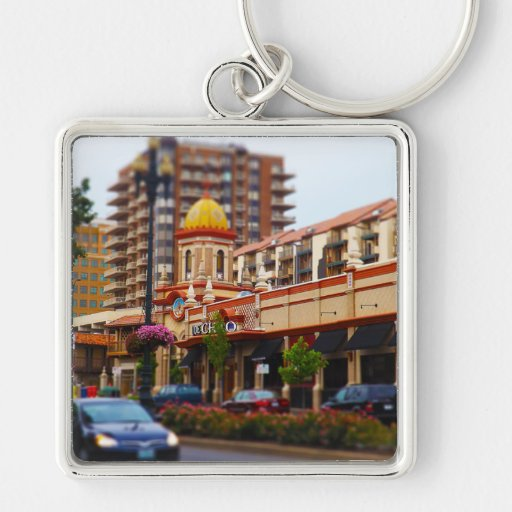 Country Club Plaza 47th Street Kansas City Silver-Colored Square Keychain