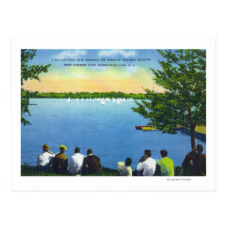 Country Club View of Sailboat Regatta on Lake Postcard