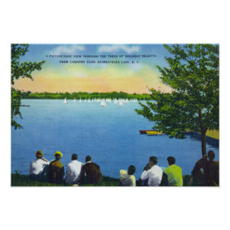 Country Club View of Sailboat Regatta on Lake Poster